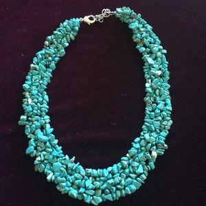 Blue turquoise like stone collar necklace